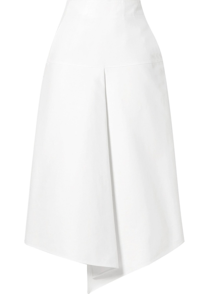 Tibi Asymmetric Compact Cotton Midi Skirt