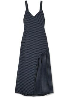 Tibi Asymmetric gingham seersucker midi dress
