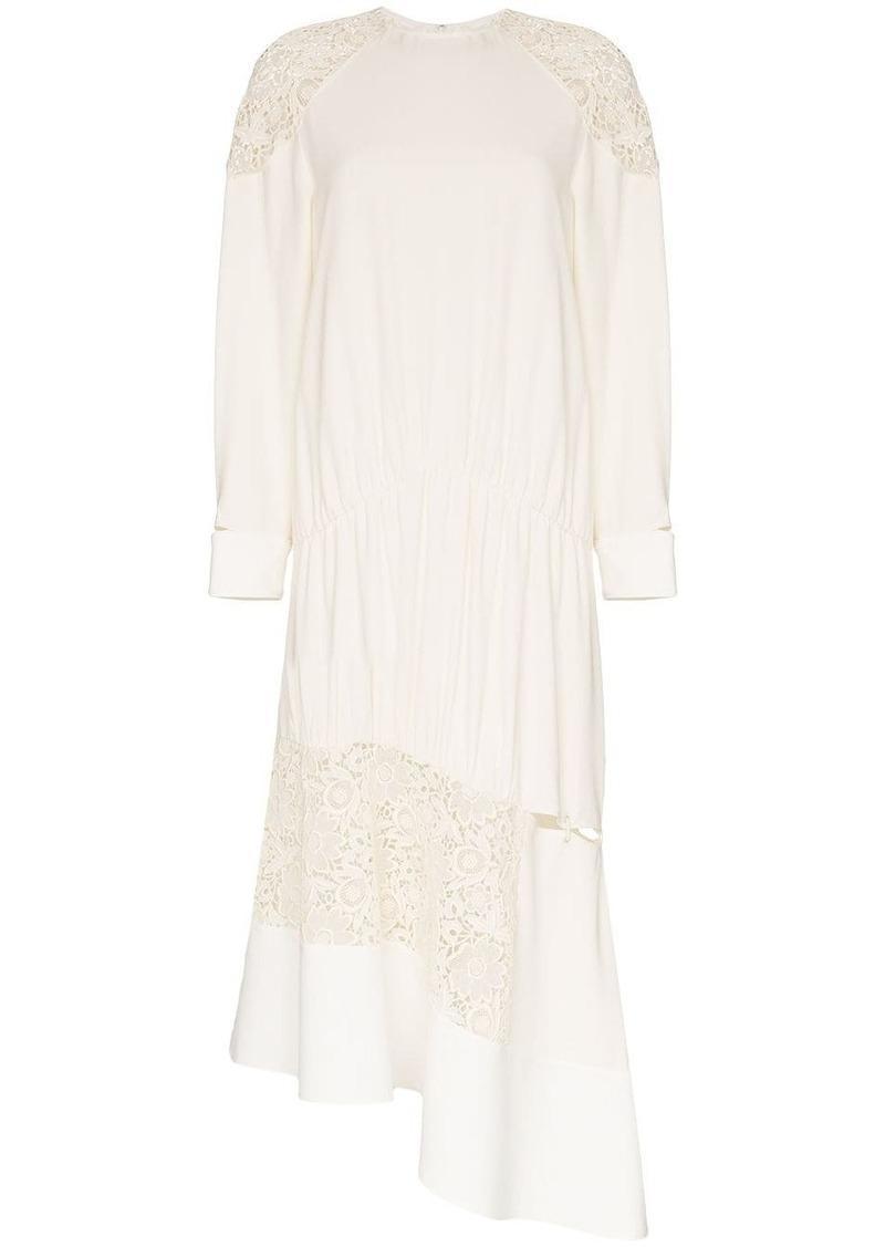 Tibi asymmetric lace insert midi dress