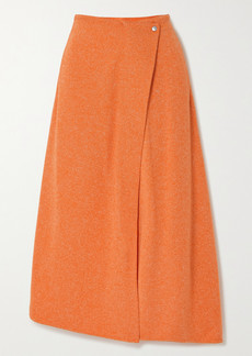 Tibi Asymmetric Mélange Ribbed-knit Midi Skirt