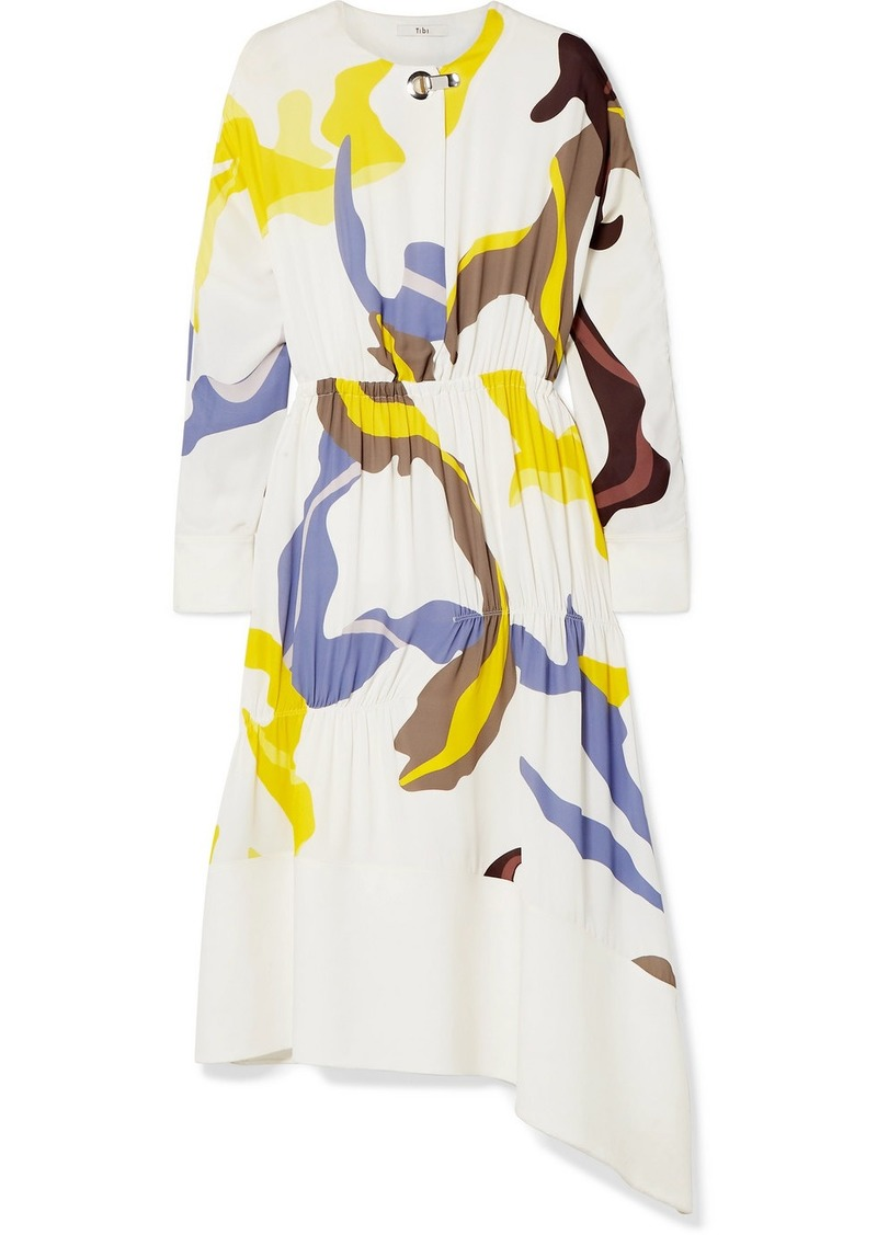 Tibi Asymmetric Paneled Printed Crepe Midi Dress