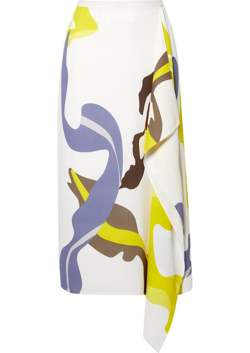 Tibi Asymmetric Printed Crepe Midi Skirt