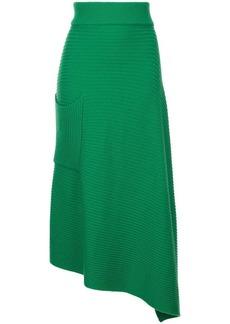 Tibi asymmetric ribbed skirt