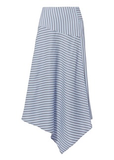 Tibi Asymmetric Striped Midi Skirt