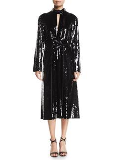 Tibi Avril Sequin-Front Long-Sleeve Midi Dress
