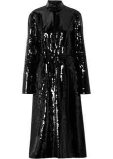 Tibi Avril Shell-paneled Sequined Cotton Midi Dress