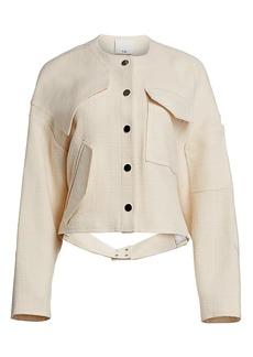 Tibi Basketweave Patch Detail Short Jacket