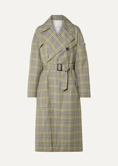 Tibi Belted Checked Woven Trench Coat