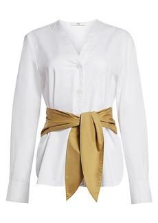 Tibi Belted Satin Poplin Shirt