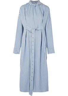 Tibi Belted Striped Poplin Midi Dress
