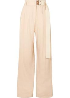 Tibi Bianca Belted Linen-blend Wide-leg Pants