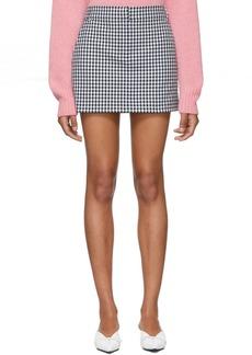 Tibi Black & White Gingham Short Skirt