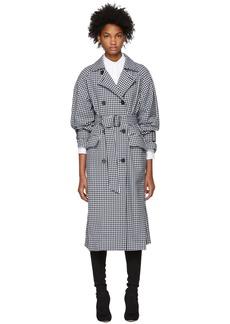 Tibi Black & White Gingham Trench Coat