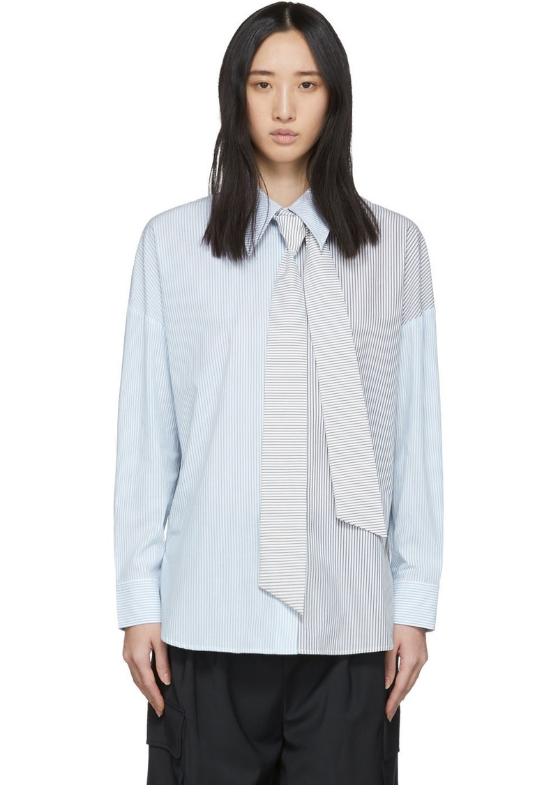 Tibi Blue Collage Stripe Shirting Shirt