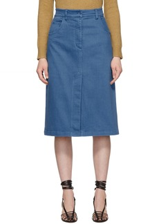 Tibi Blue Garment-Dyed Twill Pencil Skirt