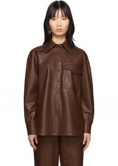 Tibi Brown Faux-Leather Utility Blouse