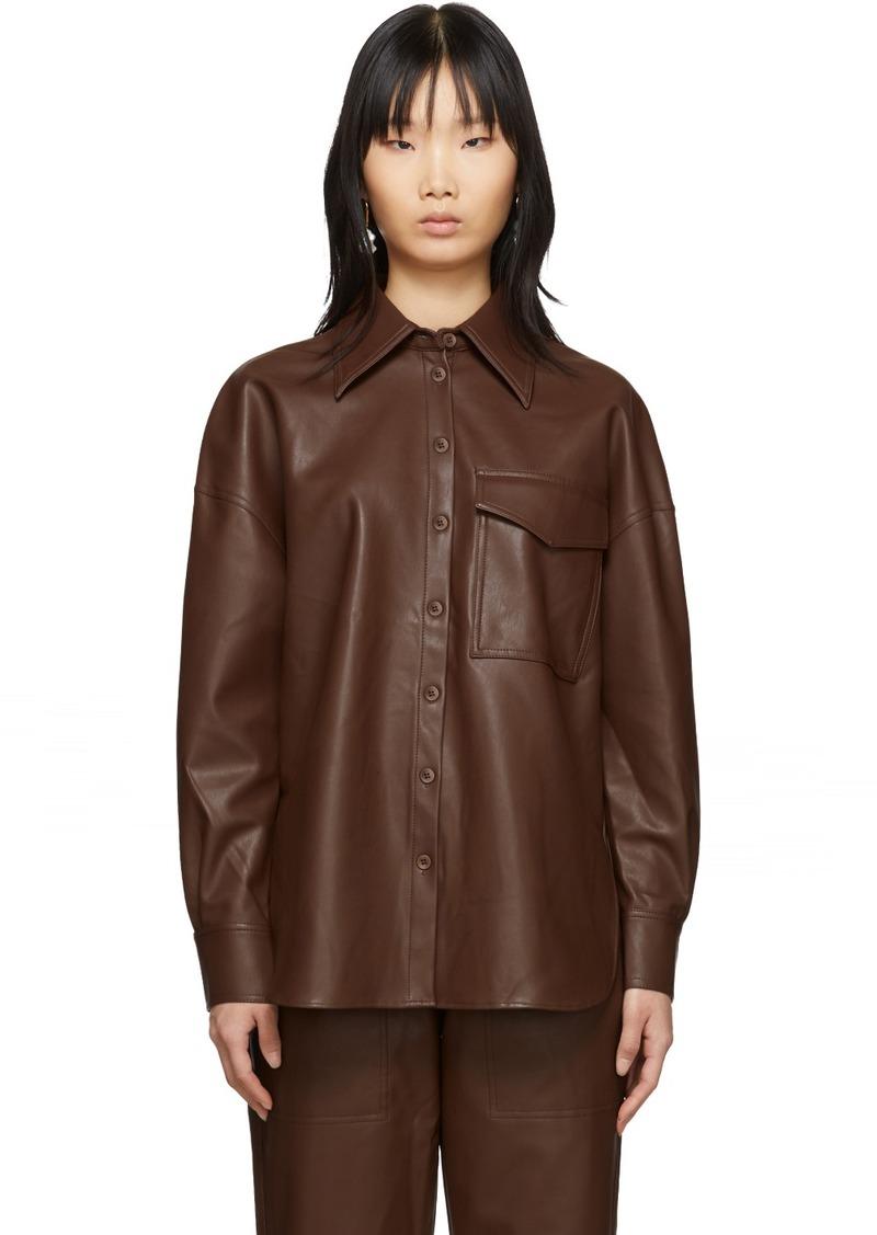 Tibi Brown Faux-Leather Utility Blouse