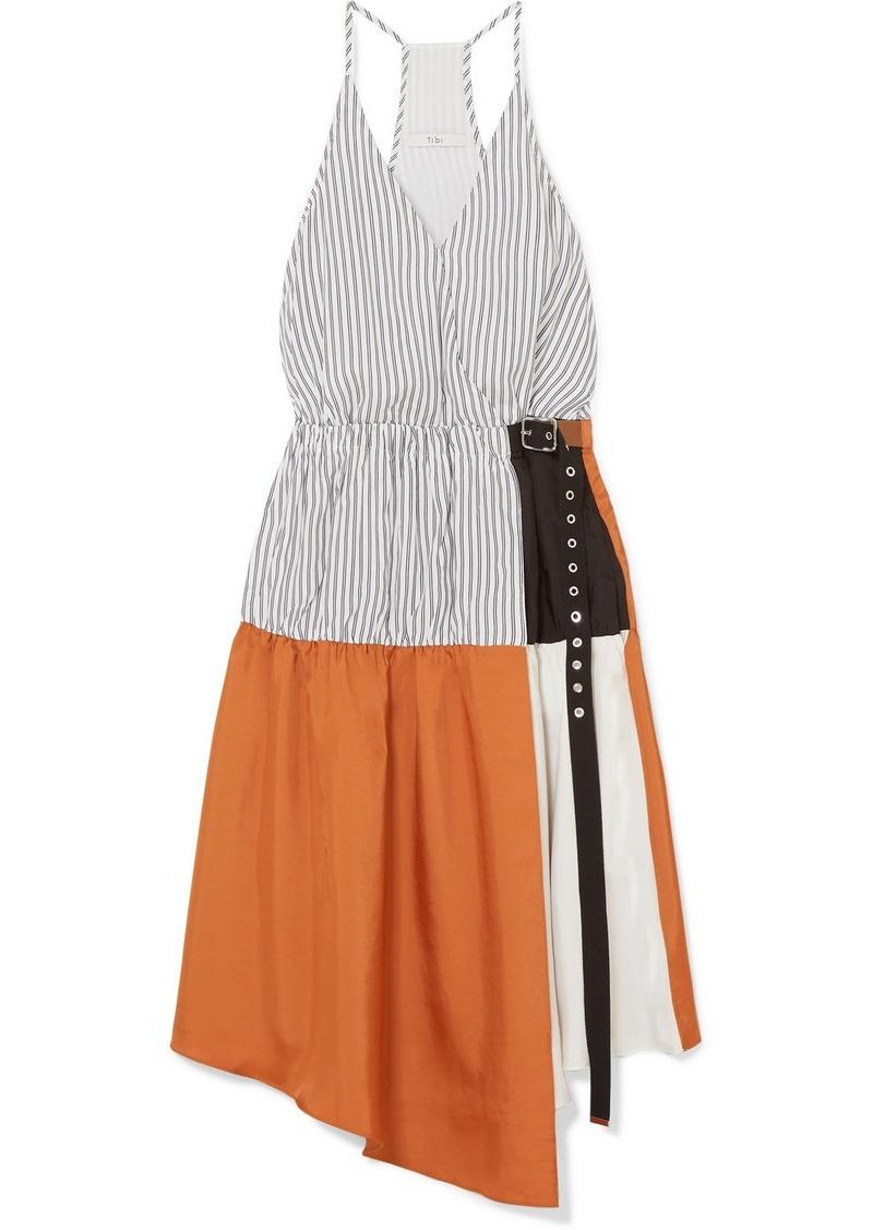 Tibi Camille Paneled Wrap-effect Tencel And Satin-twill Dress