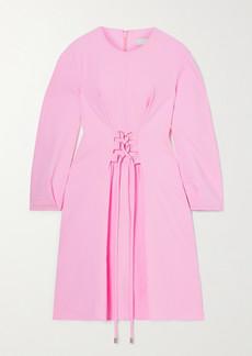 Tibi Chalky Drape Lace-up Grain De Poudre Mini Dress
