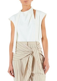 Tibi Chalky Drape Sleeveless Tie Pleat Top