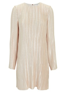 Tibi Champagne Plissé Pleat Mini Dress