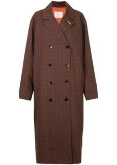 Tibi Check Oversized trench coat