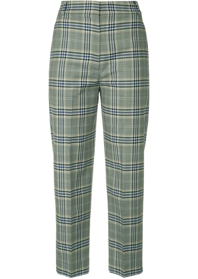 checked tailored cropped trousers