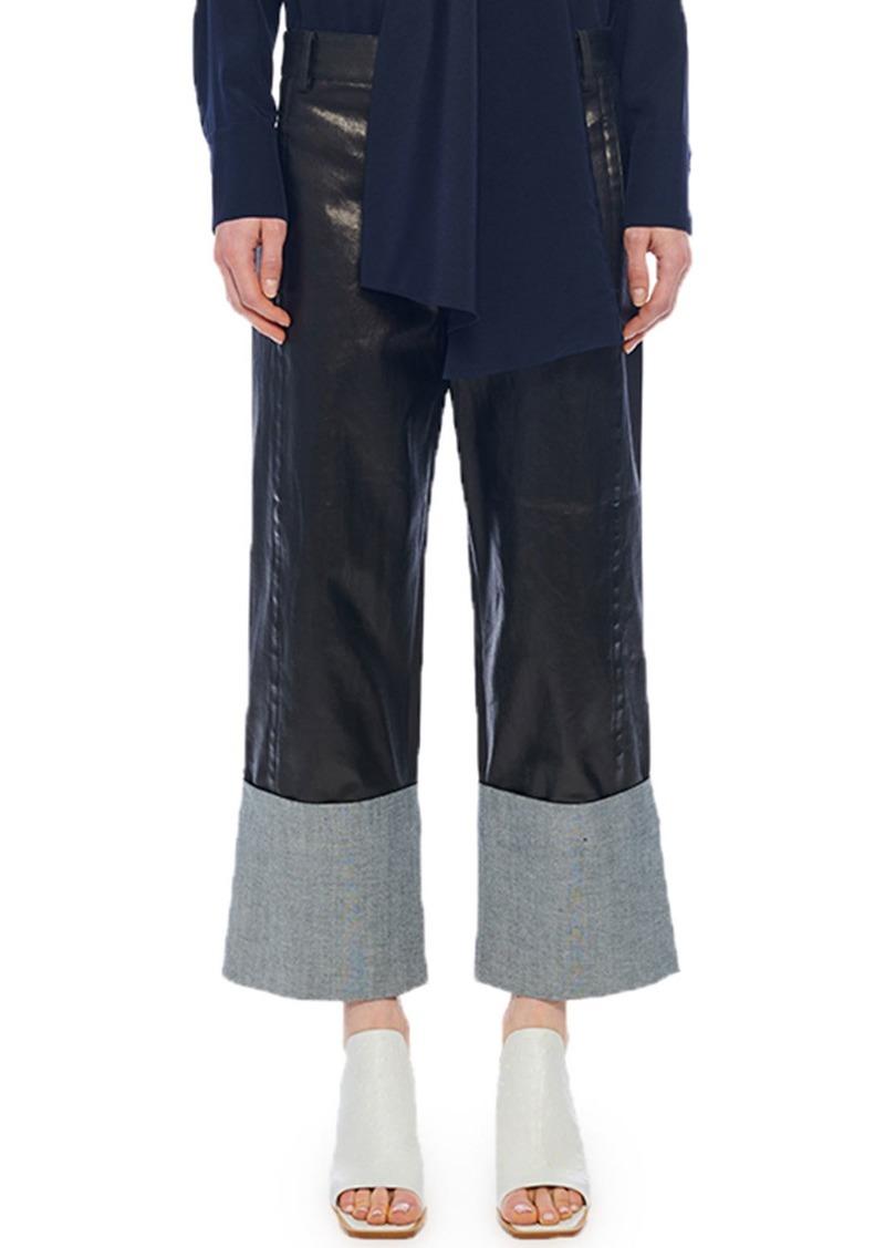 Tibi Coated Denim Cuffed Nerd Pants