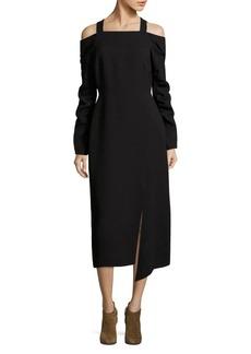 Tibi Cold-Shoulder Midi Dress