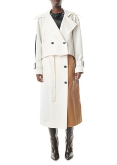 Tibi Colorblock Double-Breasted Trench Coat