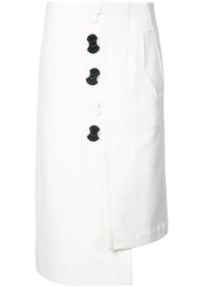 Tibi contrast button asymmetric skirt