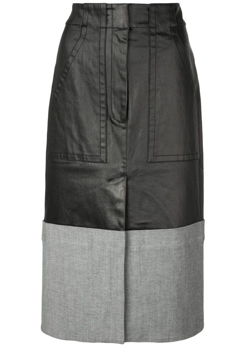 Tibi contrasting panel midi skirt