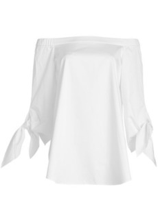 Tibi Cotton Off-Shoulder Top with Bow Sleeves