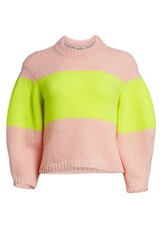 Tibi Cozette Neon Stripe Alpaca-Blend Sweater