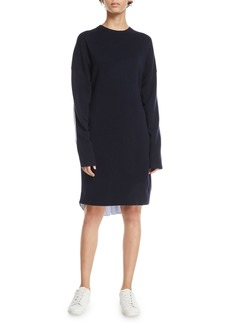 Tibi Crewneck Merino Wool Sweaterdress with Men's Shirt Combo