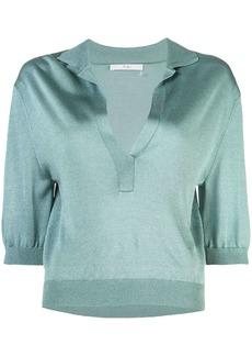Tibi Crispy cropped sleeves polo shirt