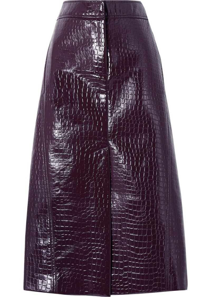 Tibi Croc-effect Faux Patent-leather Midi Skirt
