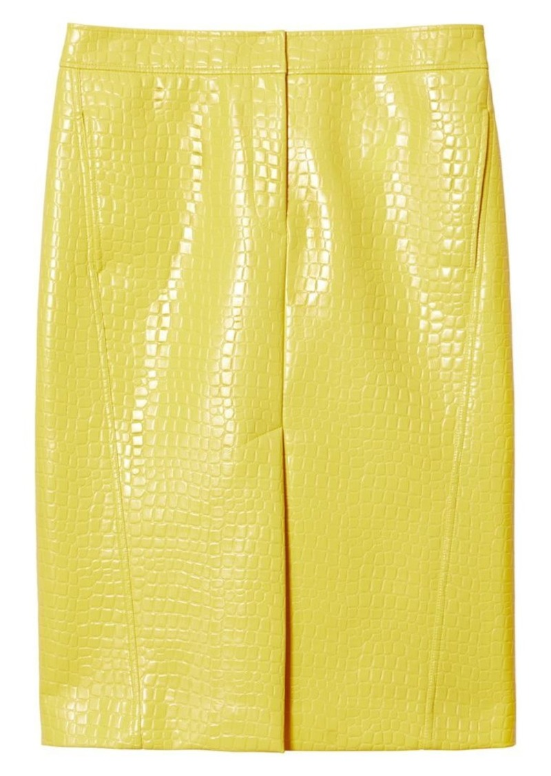 Tibi Crocodile-Embossed Patent Midi Skirt