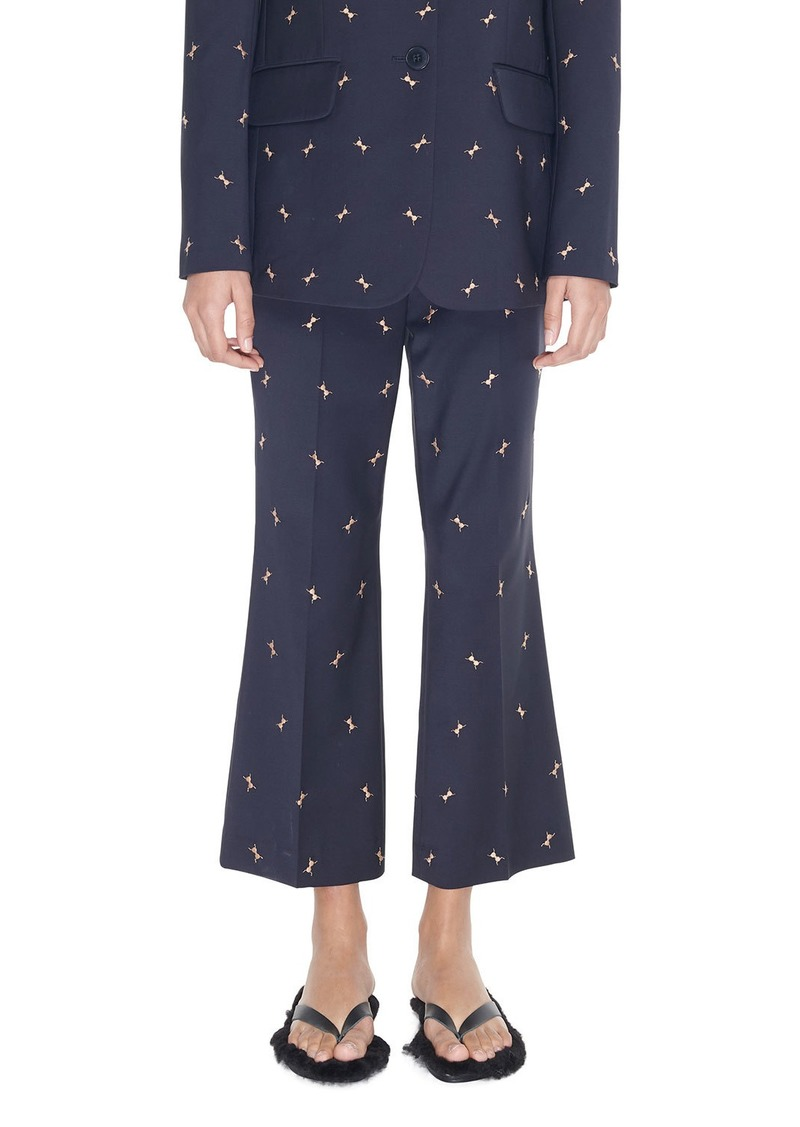 Tibi Cropped Mid-Rise Boot-Cut Trouser with Ant Embroidery