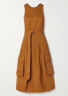 Tibi Cutout Linen-blend Twill Midi Dress