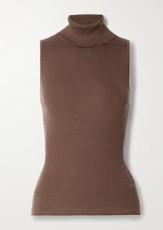 Tibi Cutout Ribbed Wool Turtleneck Top