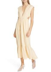 Tibi Cutout Waist Linen Midi Dress