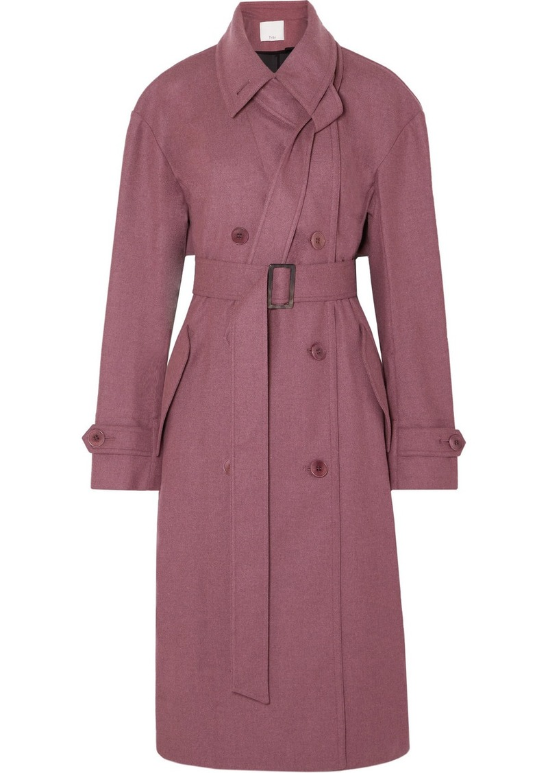 Double-breasted Felt Trench Coat