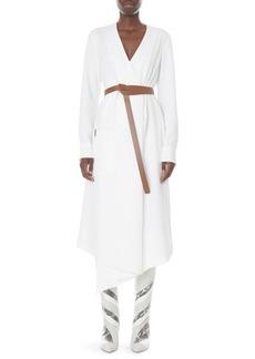 Tibi Drape Twill Midi Wrap Dress