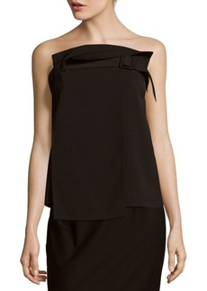 Tibi Drape Twill Solid Belted Top