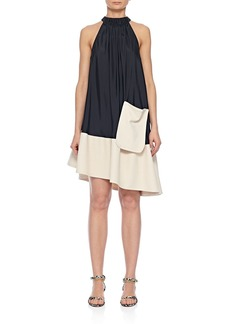 Tibi Draped Asymmetrical Sleeveless Dress with Belt