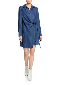 Tibi Draped Tie-Front Tunic Short Dress