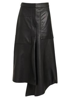 Tibi Draped Tissue Leather Skirt