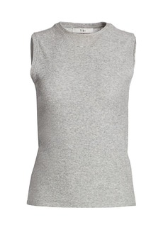 Tibi Dry Loop Terry Fitted Tank Top
