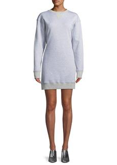 Tibi Easy Open-Back Crewneck Sweatshirt Dress
